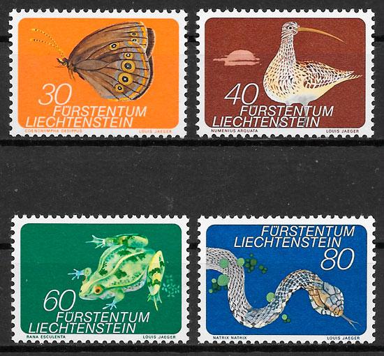 colección sellos fauna Liechtenstein 1973