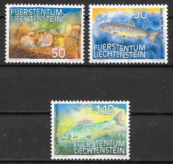 colección sellos fauna Liechtenstein 1987
