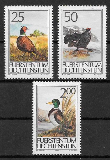 colección sellos fauna Liechtenstein 1990