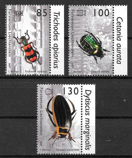 colección sellos fauna Liechtenstein 2007