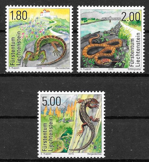 filatelia colección fauna Liechtenstein 2015