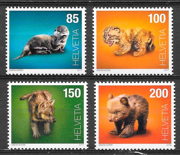 filatelia colección fauna Suiza 2017