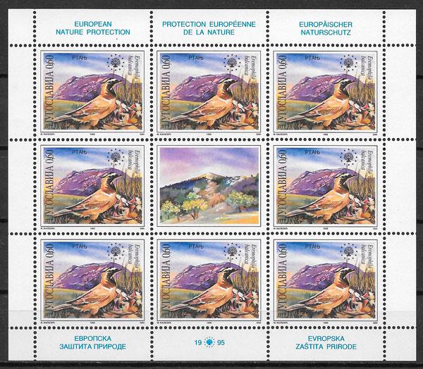 filatelia fauna Yugoslavia 1995