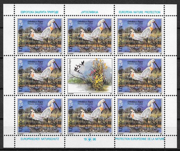 filatelia colección fauna Yugoslavia 1996