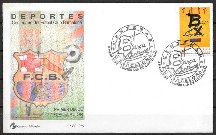 filatelia colección fútbol España 1999