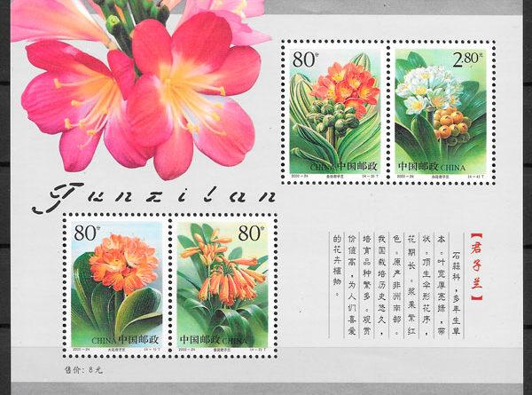 sellos flora China 2000