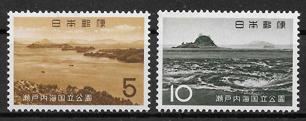 colección sellos parques nacionales Japón 1963
