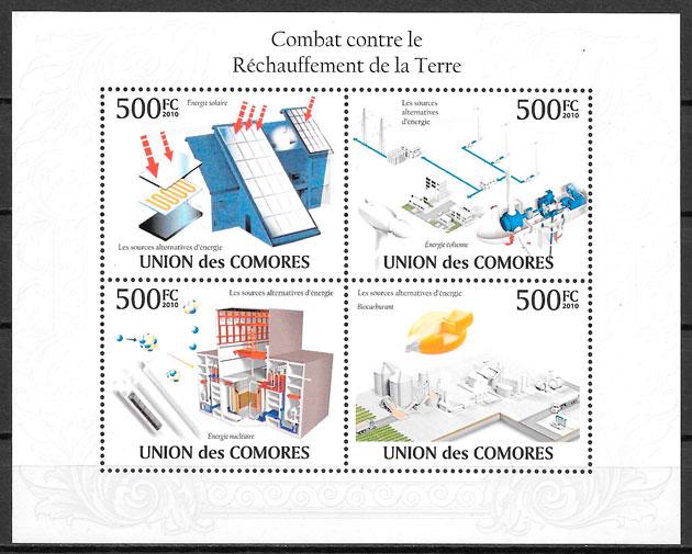 colección selos protección del medio ambiente Comores 2009