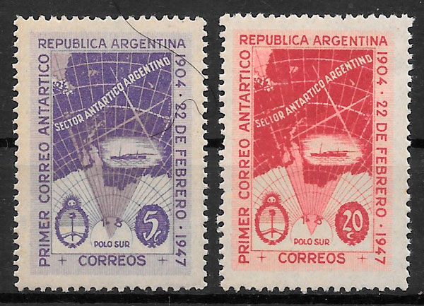 sellos argentina transporte 1947