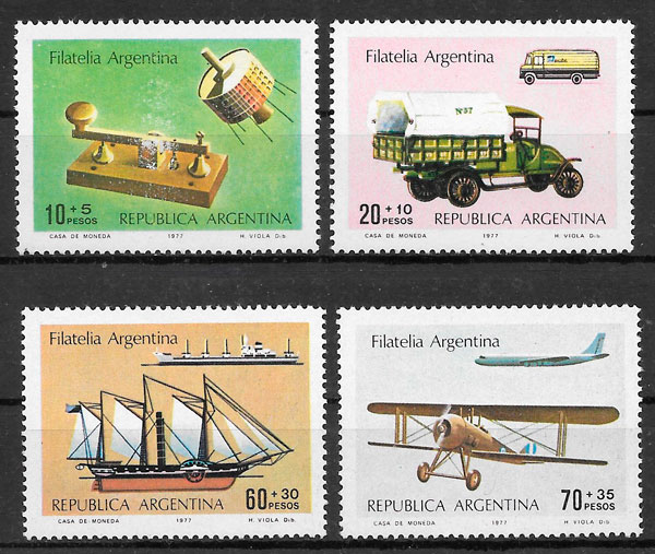 filatelia colección transporte Argentina 1977