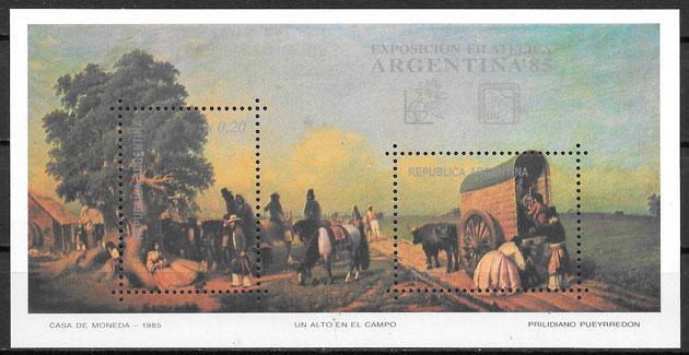 filatelia colección pintura Argentina 1985