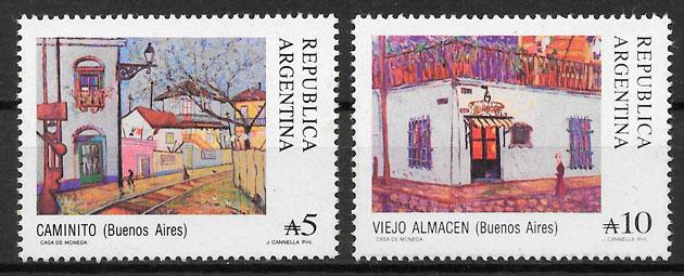 filatelia colección pintura Argentina 1988