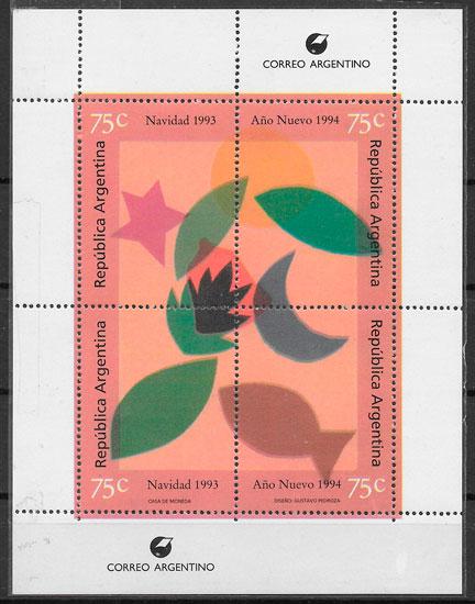 colección selos navidad Argentina 1993