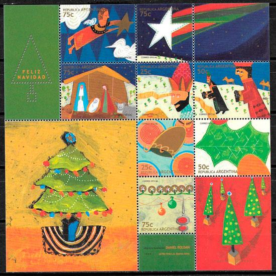 colección sellos navidad Argentina 1999