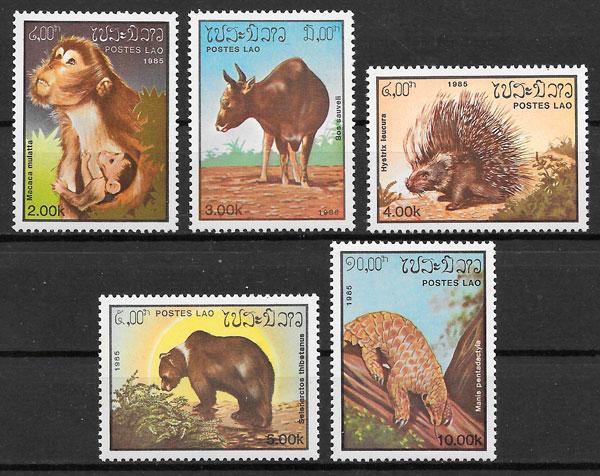 sellos fauna Laos 1985