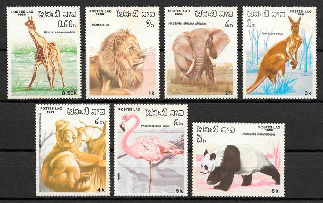colección sellos fauna Laos 1986