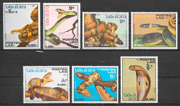 filatelia fauna Laos 1986