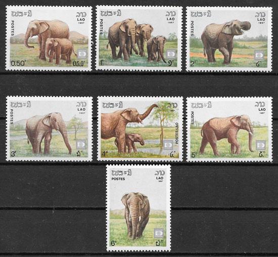 filatelia fauna Laos 1987