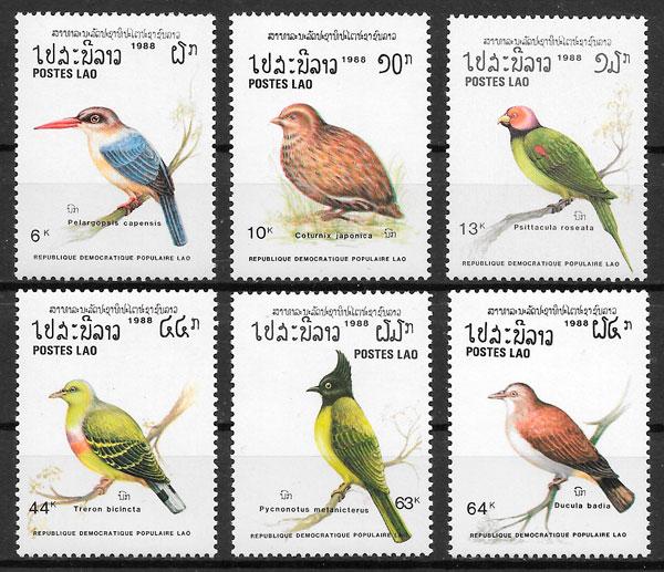 sellos fauna Laos 1988