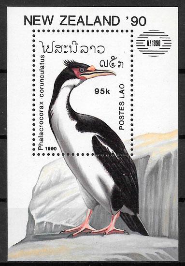 colección sellos fauna Laos 1990