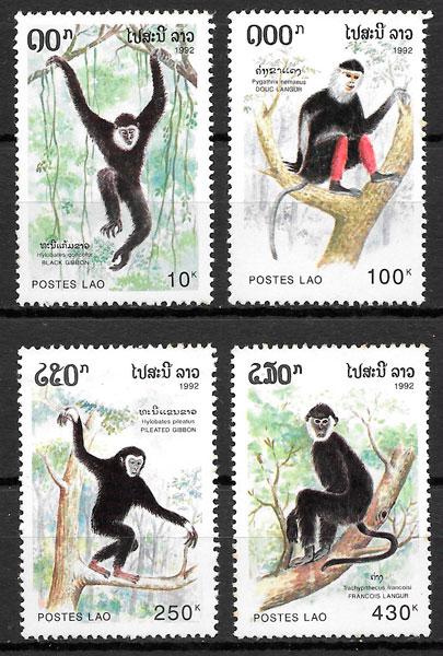 filatelia fauna Laos 1992