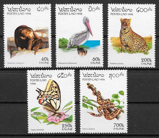 filatelia fauna Laos 1996