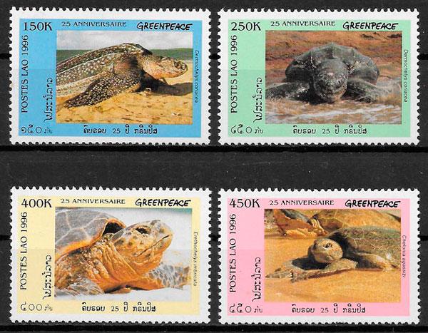filatelia colección fauna Laos 1996