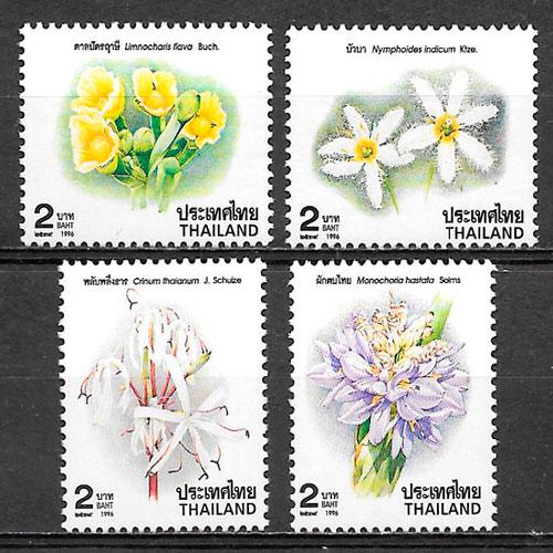 colección sellos flora Tailandia 1996