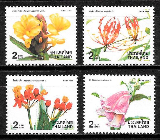 colección sellos flora Tailandia 1998