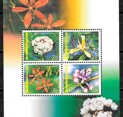 colección sellos flora Tailandia 2000