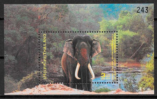 colección sellos fauna Tailandia 2003