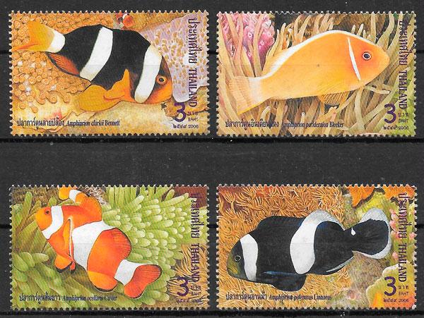 colección selos fauna Tailandia 2006