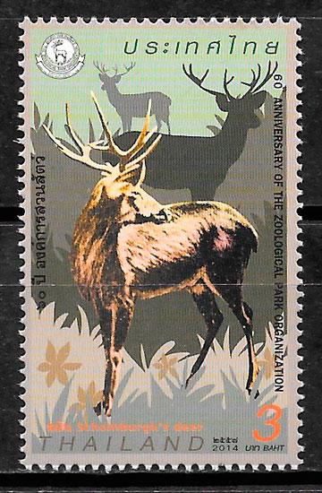 colección sellos fauna Tailandia 2014