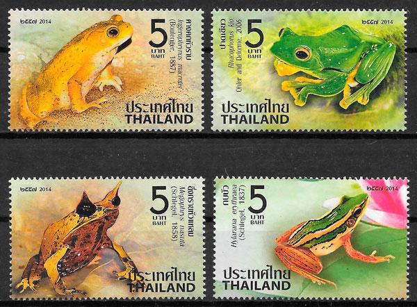 filatelia colección fauna Tailandia 2014