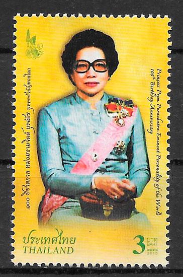 filatelia colección personalidad Tailandia 2015