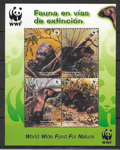 colección sellos fauna wwf Perú 2004