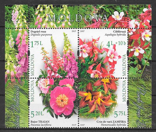 filatelia colección flora Moldavia 2017