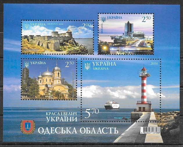 colección sellos faros Ucrania 2014