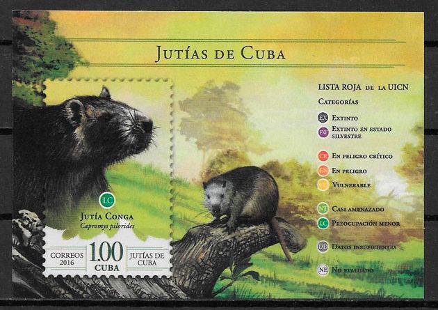 sellos fauna Cuba 2016