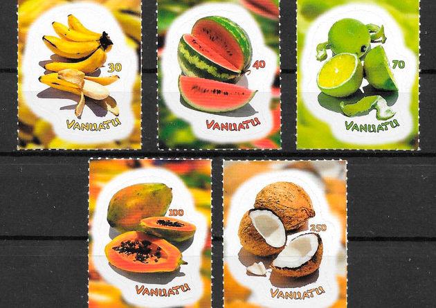 filatelia colección frutas Vanatu 2007