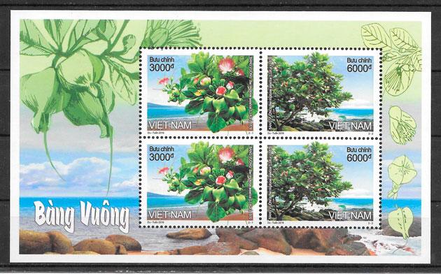 filatelia colección flora Viet Nam 2016