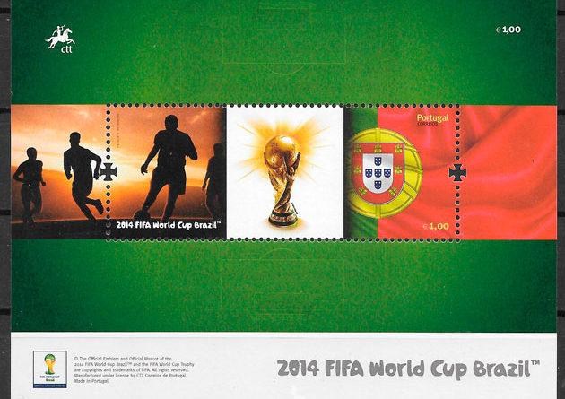 filatelia fútbol Portugal 2014