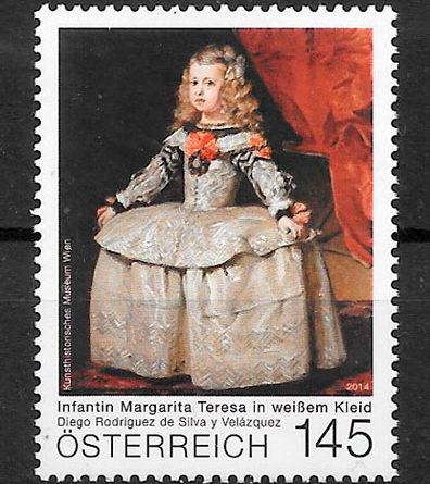 filatelia colección pintura Austria 2014
